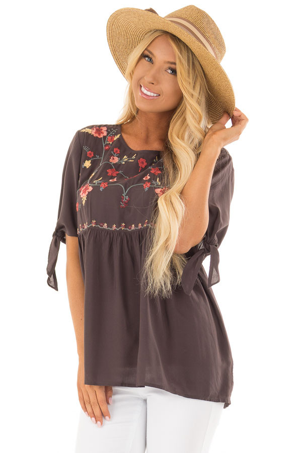 Charcoal Embroidered Top with Tie Sleeve Detail front closeup