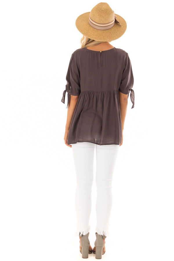 Charcoal Embroidered Top with Tie Sleeve Detail back full body
