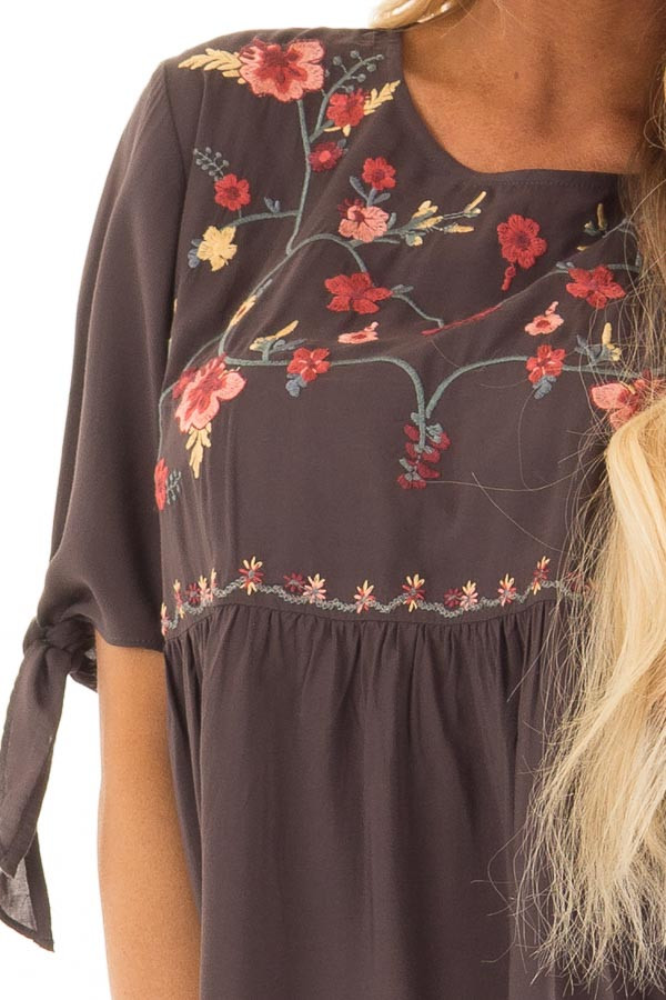 Charcoal Embroidered Top with Tie Sleeve Detail front detail