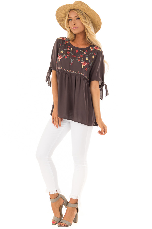 Charcoal Embroidered Top with Tie Sleeve Detail front full body