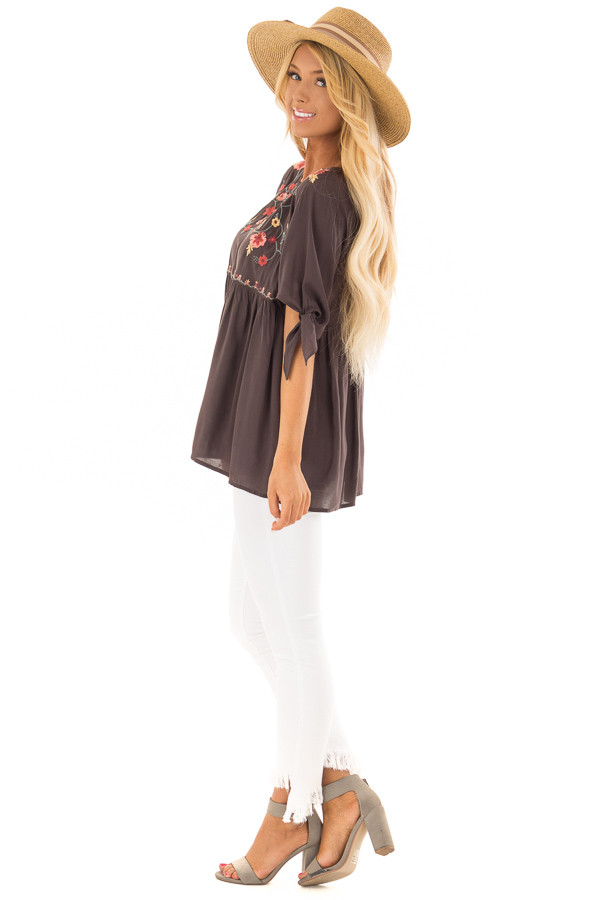 Charcoal Embroidered Top with Tie Sleeve Detail side full body