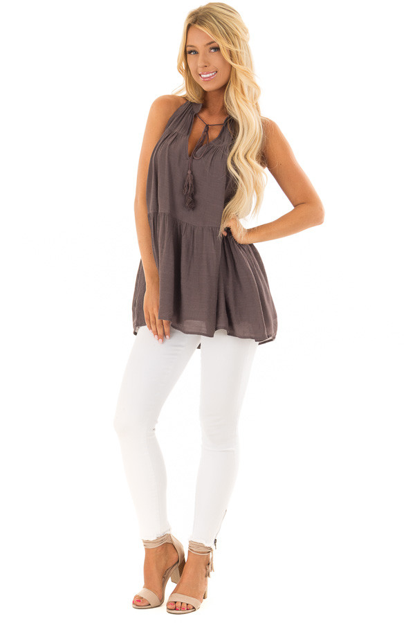 Chocolate Tiered Tank Top with Tassel Tie Neckline front full body