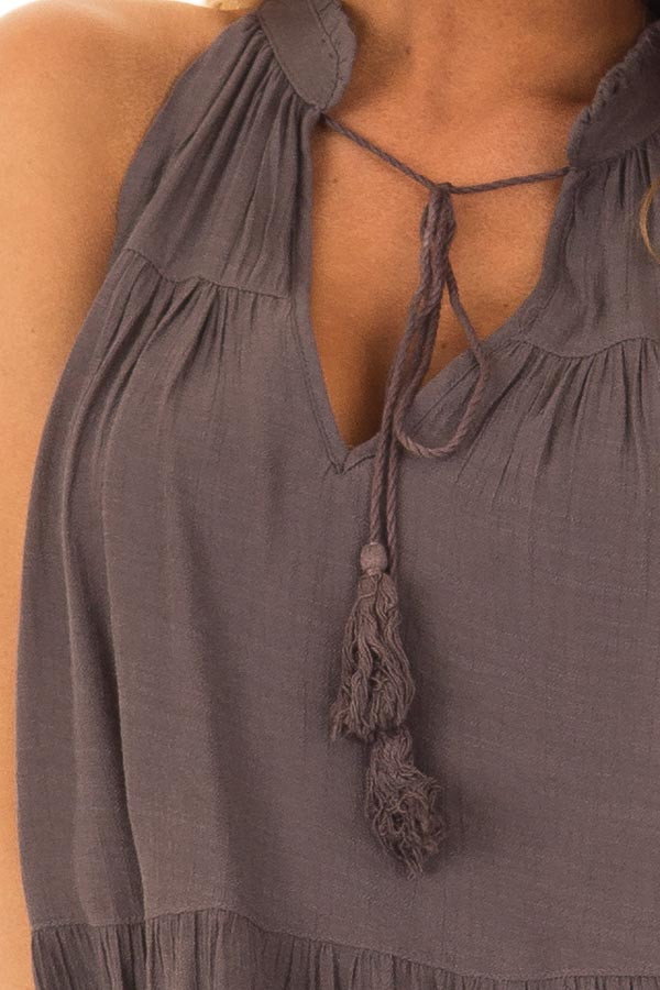 Chocolate Tiered Tank Top with Tassel Tie Neckline front detail