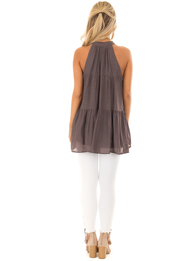 Chocolate Tiered Tank Top with Tassel Tie Neckline back full body