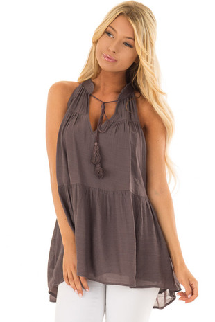 Chocolate Tiered Tank Top with Tassel Tie Neckline front closeup