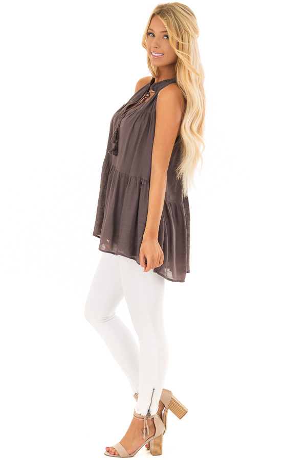 Chocolate Tiered Tank Top with Tassel Tie Neckline side full body