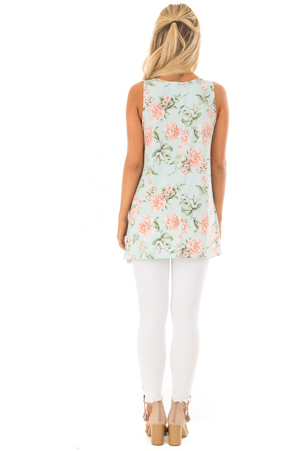 Mint Floral Tunic Tank with Caged Neckline Detail back full body
