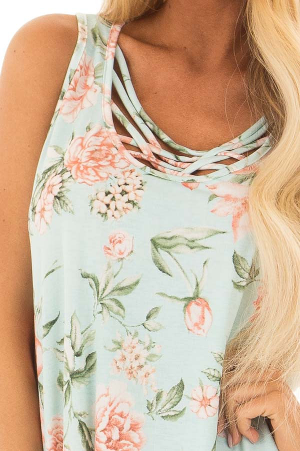 Mint Floral Tunic Tank with Caged Neckline Detail front detail