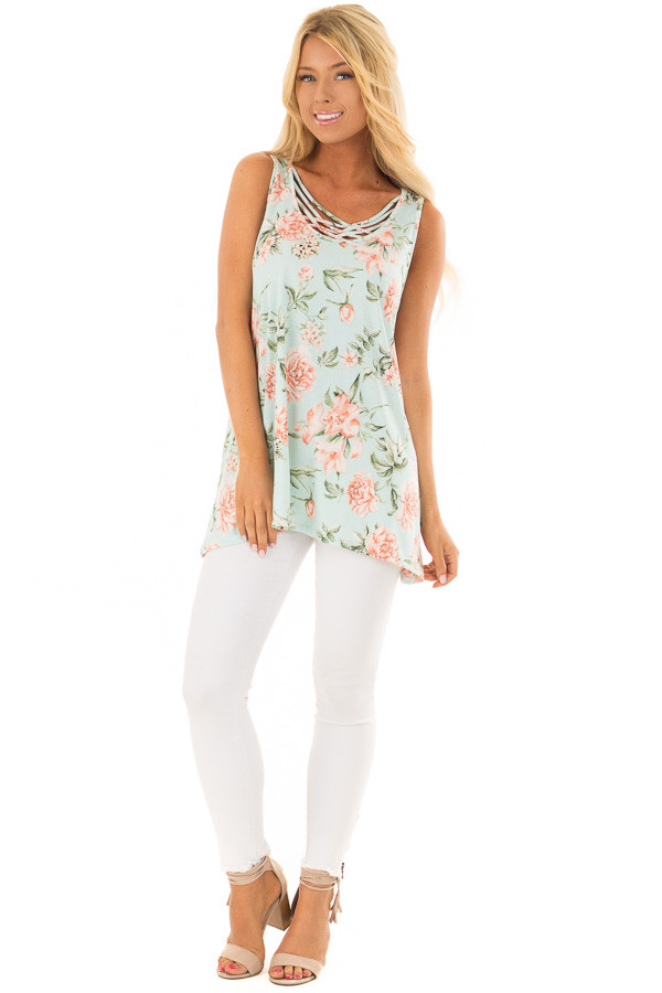 Mint Floral Tunic Tank with Caged Neckline Detail front full body