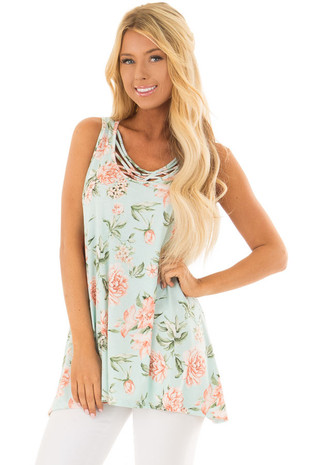 Mint Floral Tunic Tank with Caged Neckline Detail front closeup