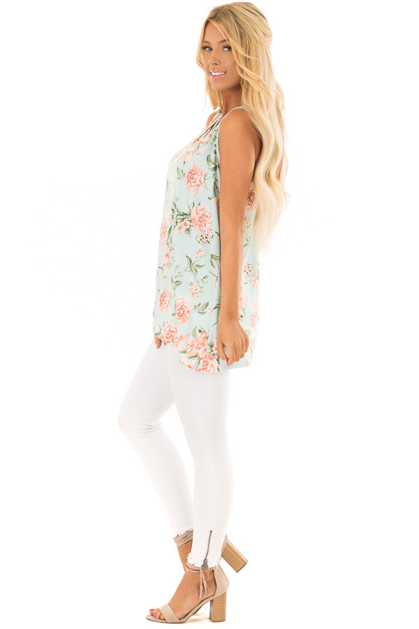 Mint Floral Tunic Tank with Caged Neckline Detail side full body