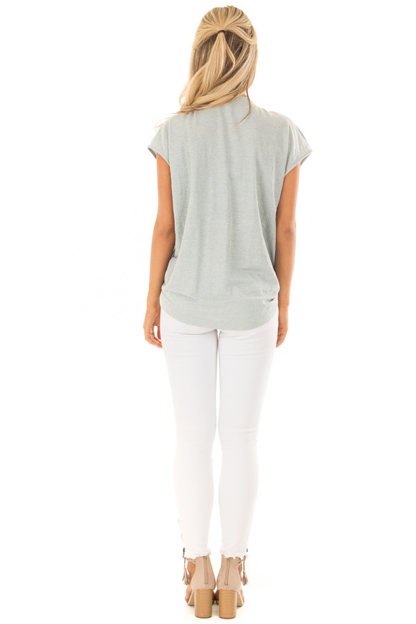 Aqua Short Sleeve Front Tie Top with Gathered Shoulders back full body