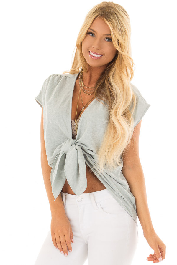 Aqua Short Sleeve Front Tie Top with Gathered Shoulders front closeup