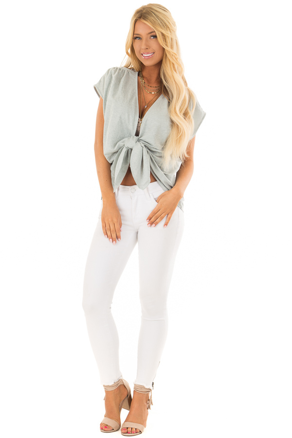 Aqua Short Sleeve Front Tie Top with Gathered Shoulders front full body