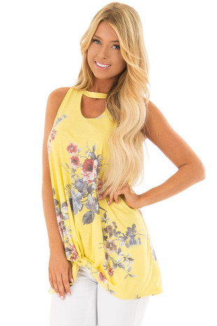 Sunshine Yellow Floral Print Tank with Keyhole Neckline front closeup