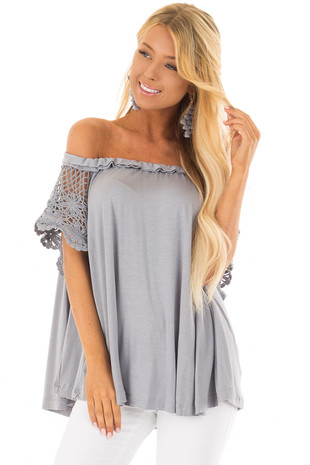 Cool Grey Top with Crochet Short Sleeve Detail front closeup
