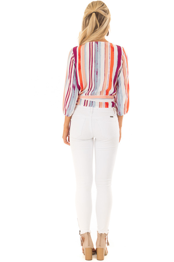 Multicolor Striped Crossover Blouse with Side Tie back full body