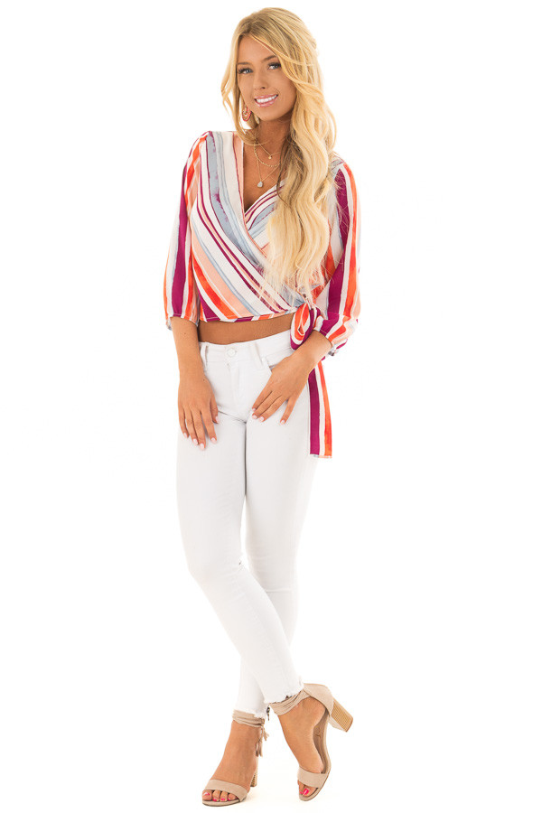 Multicolor Striped Crossover Blouse with Side Tie front full body