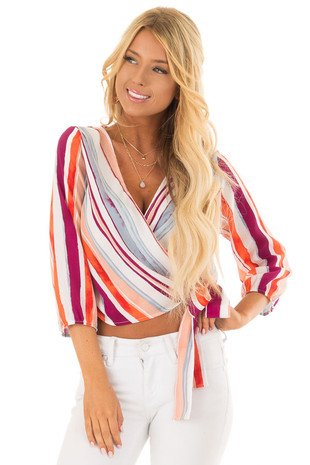 Multicolor Striped Crossover Blouse with Side Tie front closeup