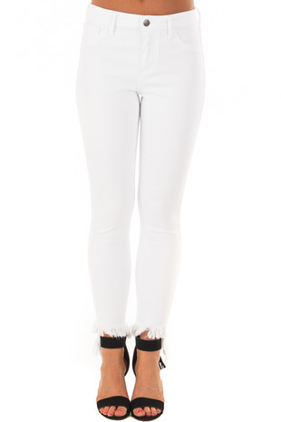 White Mid Rise Cropped Skinny Jeans with Fray Hem front