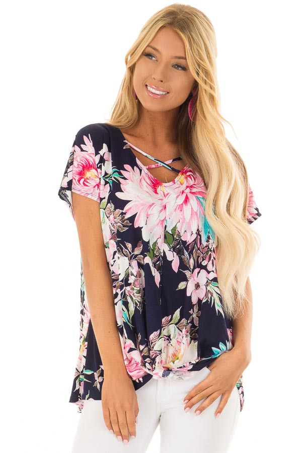 Navy Floral Print Short Sleeve Top with Criss Cross Detail front closeup