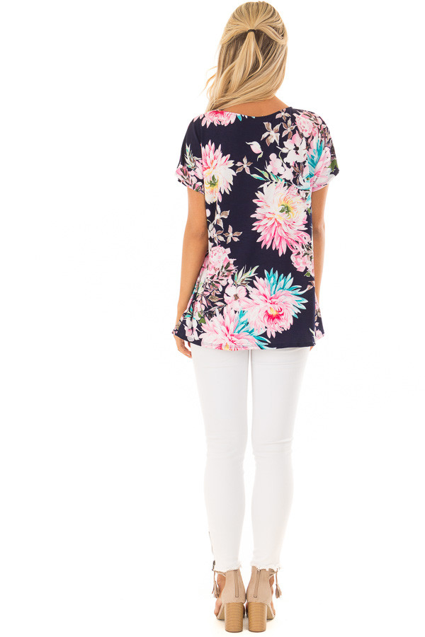 Navy Floral Print Short Sleeve Top with Criss Cross Detail bCK full body