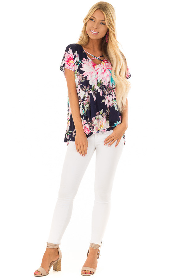 Navy Floral Print Short Sleeve Top with Criss Cross Detail front full body