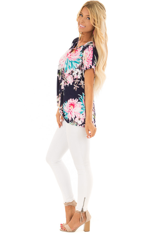 Navy Floral Print Short Sleeve Top with Criss Cross Detail side full body