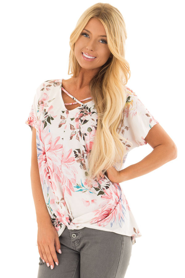 Cream Floral Print Short Sleeve Top with Criss Cross Detail front closeup