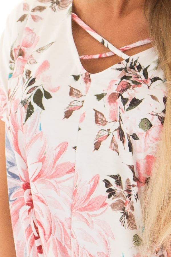 Cream Floral Print Short Sleeve Top with Criss Cross Detail front detail