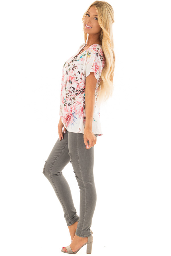 Cream Floral Print Short Sleeve Top with Criss Cross Detail side full body
