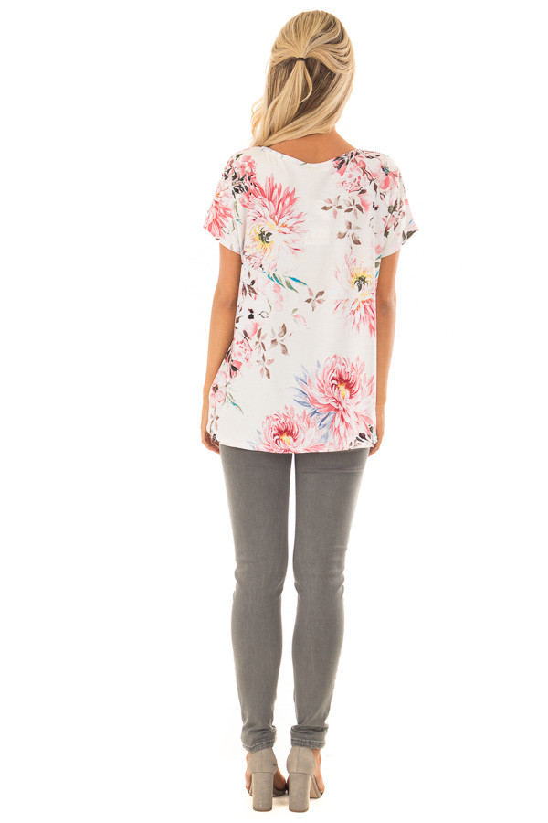 Cream Floral Print Short Sleeve Top with Criss Cross Detail back full body