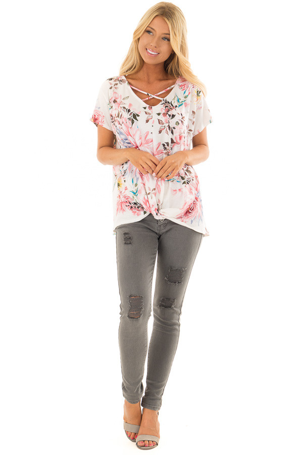 Cream Floral Print Short Sleeve Top with Criss Cross Detail front full body