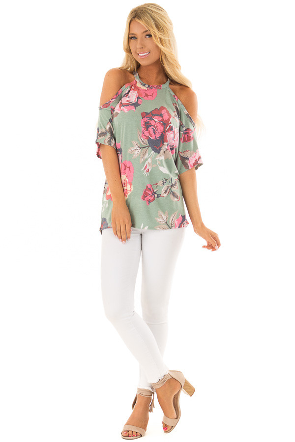Dusty Teal Floral Print Cold Shoulder Top front full body