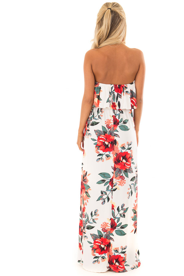 Ivory Floral Print Strapless Maxi Dress with Pockets back full body