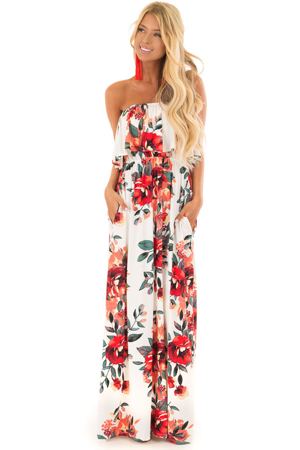 Ivory Floral Print Strapless Maxi Dress with Pockets front full body