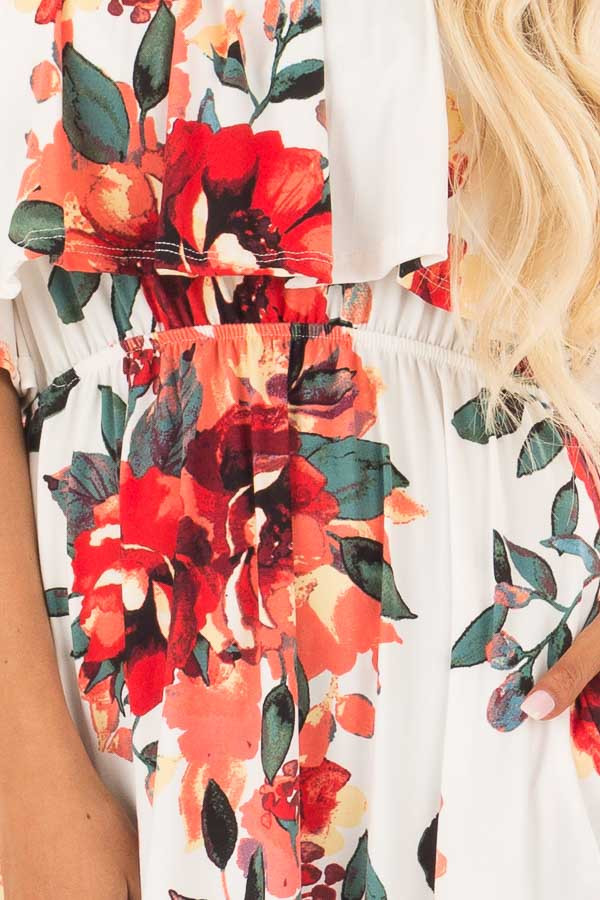 Ivory Floral Print Strapless Maxi Dress with Pockets front detail