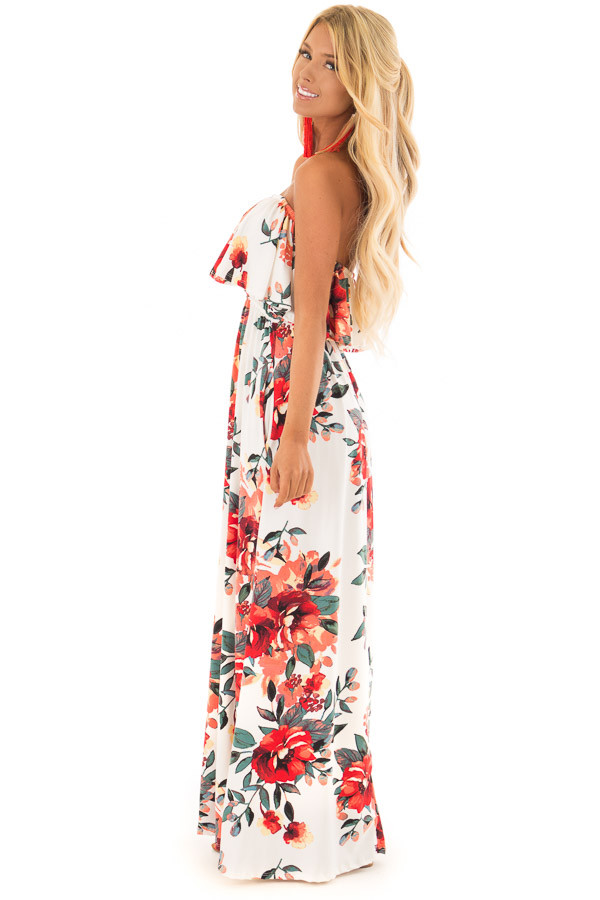 Ivory Floral Print Strapless Maxi Dress with Pockets side full body