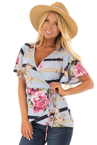 Sky Blue Striped Floral Print Layered Top with Tie Detail front closeup