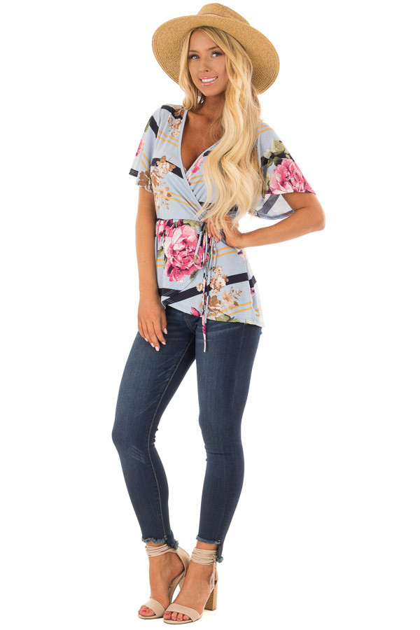 Sky Blue Striped Floral Print Layered Top with Tie Detail front full body