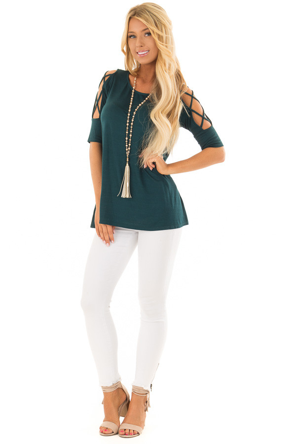 Deep Forest Green Top with Caged Cut Out Sleeves front full body