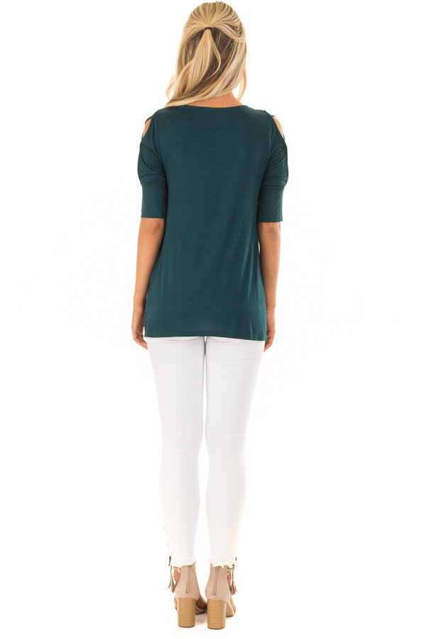 Deep Forest Green Top with Caged Cut Out Sleeves back full body