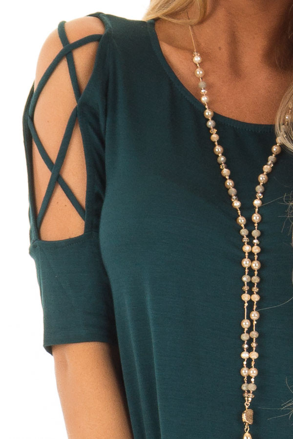 Deep Forest Green Top with Caged Cut Out Sleeves front detail