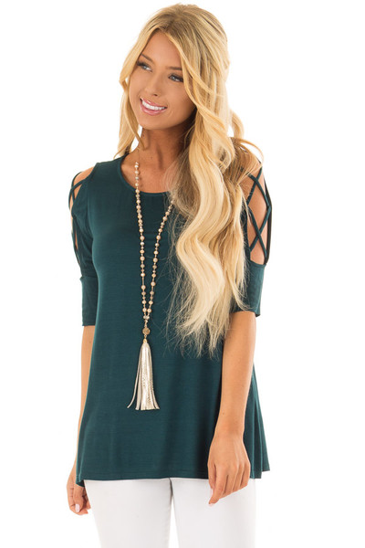 Deep Forest Green Top with Caged Cut Out Sleeves front closeup