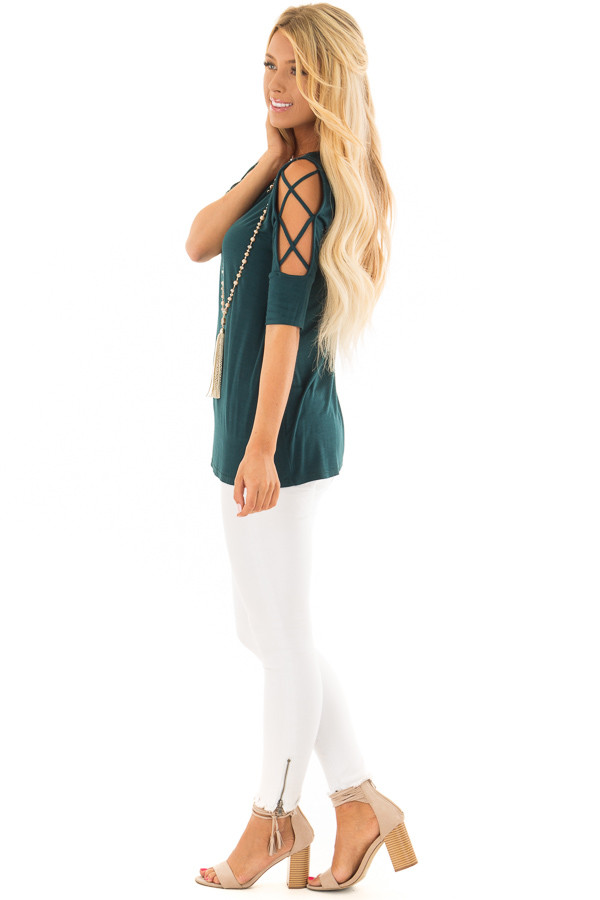 Deep Forest Green Top with Caged Cut Out Sleeves side full body