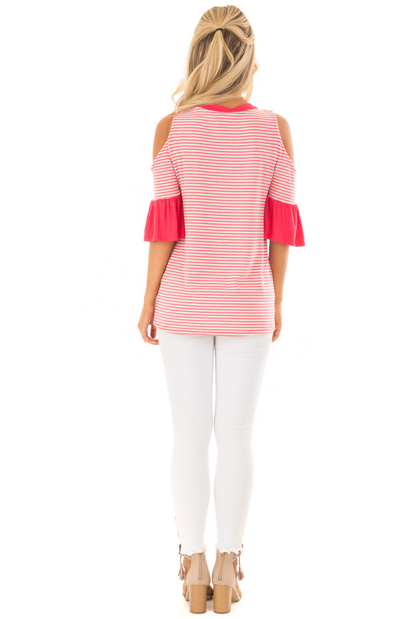 Coral and Ivory Striped Cold Shoulder Top with X Neckline back full body