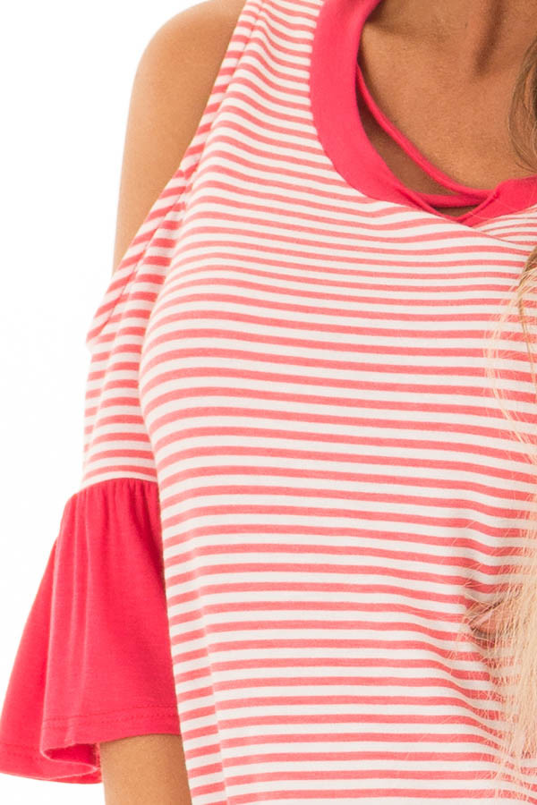 Coral and Ivory Striped Cold Shoulder Top with X Neckline front detail