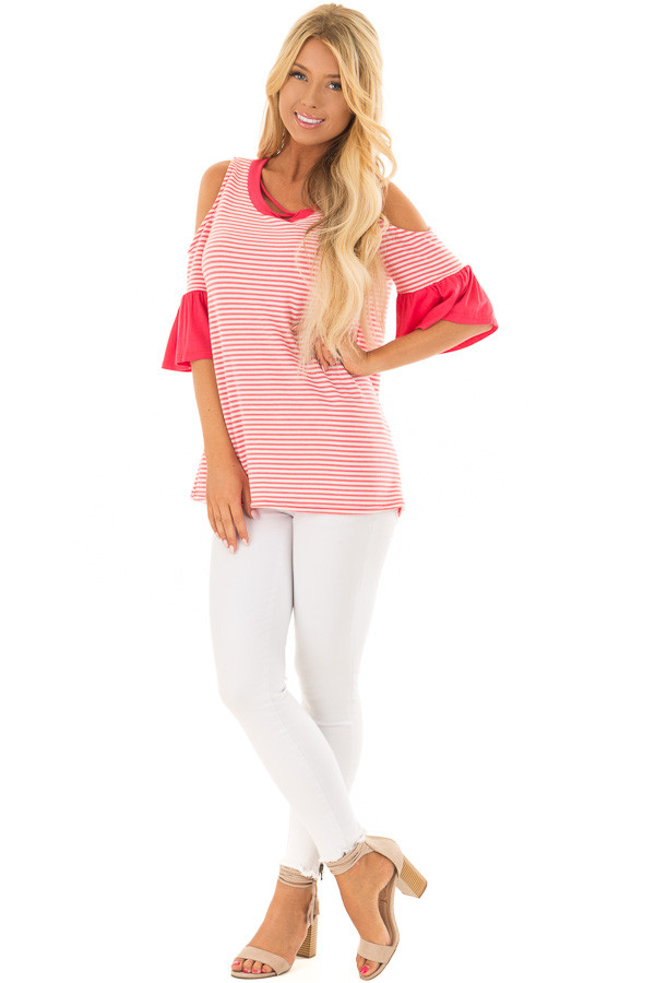 Coral and Ivory Striped Cold Shoulder Top with X Neckline front full body