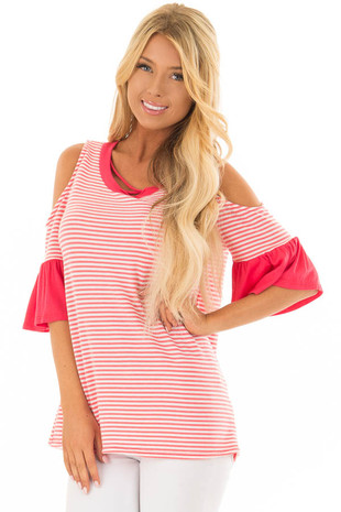 Coral and Ivory Striped Cold Shoulder Top with X Neckline front closeup