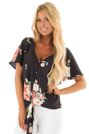 Black Floral Print Button Down Blouse with Front Tie front closeup